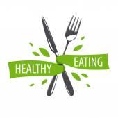 Vektorové logo vidlička a nůž pro zdravé stravy