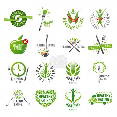 Illustration for Large set of vector logos healthy eating - Royalty Free Image