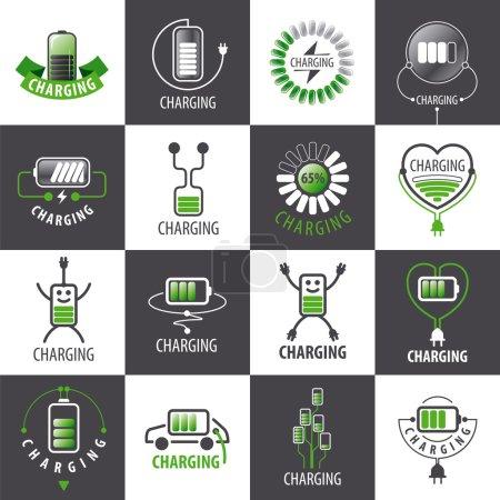 large set of vector logos charging accumulators