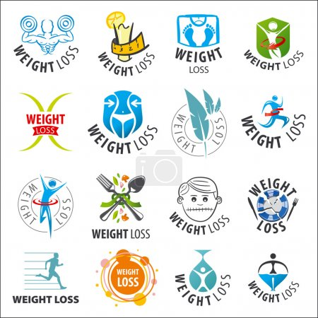 large set of vector logos weight loss