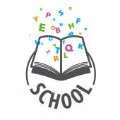 vector logo open book and flying multicolored letters