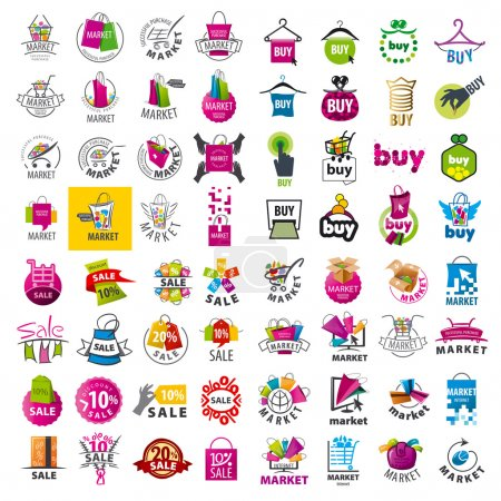large set of vector logos market and discount