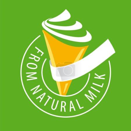 Illustration pour Crème glacée à logo vectoriel en lait naturel - image libre de droit