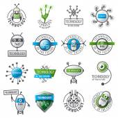 Large set of vector logos robots and new technologies
