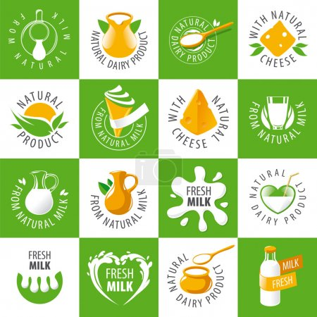 Large set of vector logos dairy products
