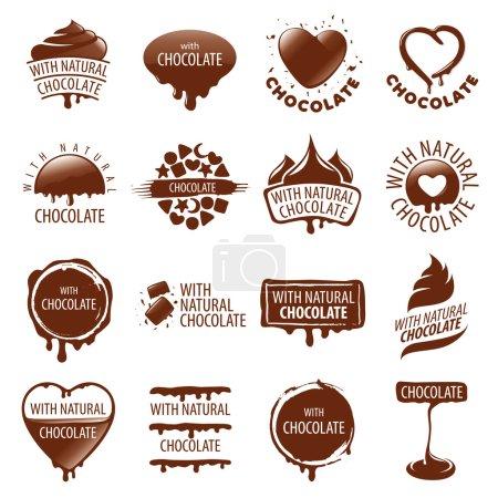 large set of vector logos chocolate