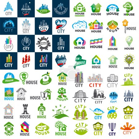 Illustration for Large set of vector logos homes and cities - Royalty Free Image