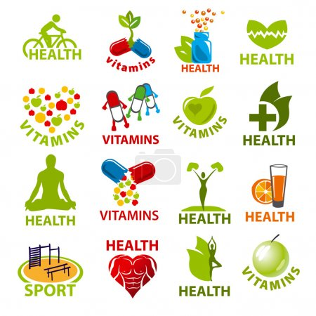 large set of vector logos for health
