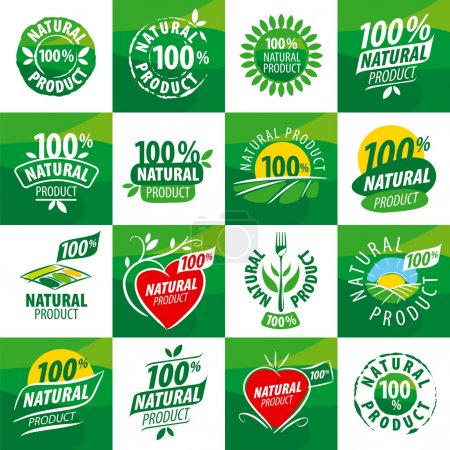Photo for Large set vector logos for natural products - Royalty Free Image