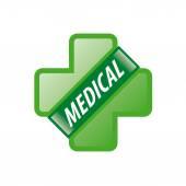 Vektorové logo zelený kříž a zelenou stuhu