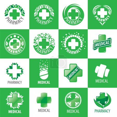 Illustration for A large set of vector logos for medicine - Royalty Free Image