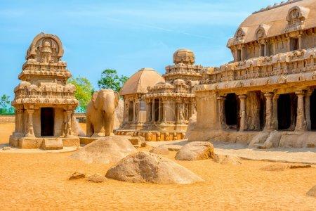 ancient Hindu monolithic Indian sculptures rock-cut architecture