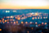 """Постер, картина, фотообои """"Городские огни размытия Аннотация круговой Боке на синем фоне"""""""