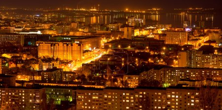 panorama of nightlife Russia, the evening city of Saratov with V