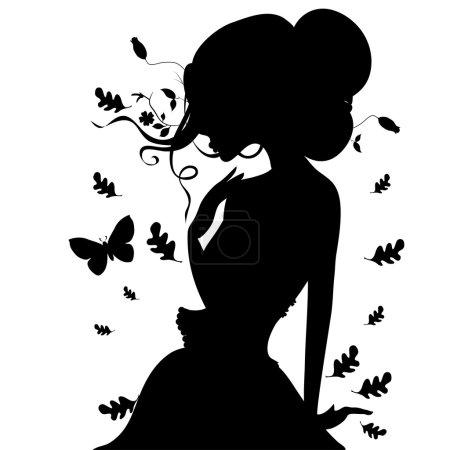 Illustration pour Feuilles de l'élégante silhouette de la jeune fille à l'automne. illustration vectorielle. - image libre de droit
