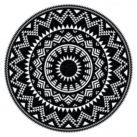 Tribal folk Aztec geometric pattern in circle