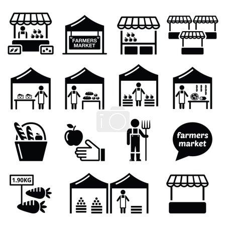 Vector icons set - market stalls selling fruit, ve...