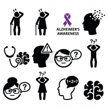 Illustration for Health and medical concept - Alzheimer's disease awareness vector icons set isolated on white - Royalty Free Image