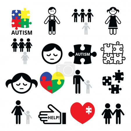 Illustration for World Autism Awareness Day 2 April - vector icons set isolated on white - Royalty Free Image