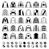 Jockey uniform - jackets silks and hats horse riding icons set