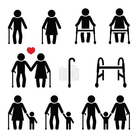 Alte, Senioren mit Gehstock oder Rollator, Großeltern-Ikonen