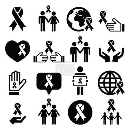Rubans de sensibilisation avec des personnes - icônes vectorielles noirs mis