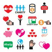 Vector icons set of solidarity among people charity support