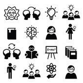 Knowledge creative thinking ideas vector icons set