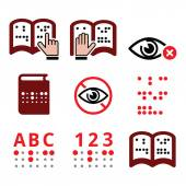 Blind people Braille writing system icon set