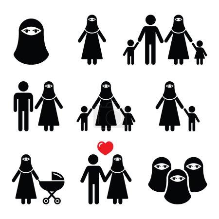 Muslim woman in burqa icons
