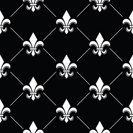Fleur de lis pattern on black