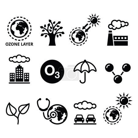 Illustration for World ozone day, ecology, climate change icons set - Royalty Free Image