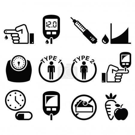 Diabetes disease, health icons set
