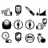 Diabetes disease health icons set