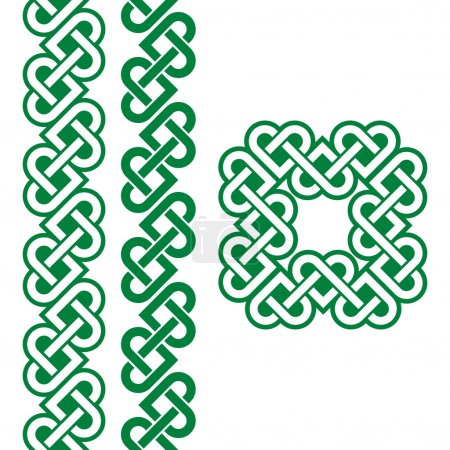 Vector set of traditional Celtic symbols, knots, b...