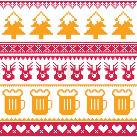 Christmas seamless pattern with beer, reindeer and trees - red and orange isolated on white