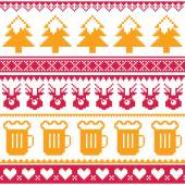 Winter Xmas pattern or greetings card - vector design