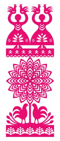 Polish folk art pattern Wycinanki Kurpiowskie - Kurpie Papercuts