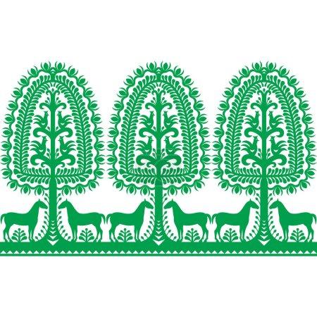 Seamless Polish folk art pattern Wycinanki Kurpiowskie - Kurpie Papercut