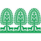 Vector repetitve design of horse tree and chickens - folk design from the region of Kurpie in Poland