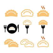 Warm dumplings dumpling on fork icons set isolated on white