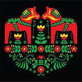 Swedish Dala or Daleclarian horse floral folk art pattern on black