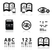 Blindness Braille writing system icon set