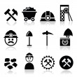 Industry vector icons set - coal, mine isolated on...
