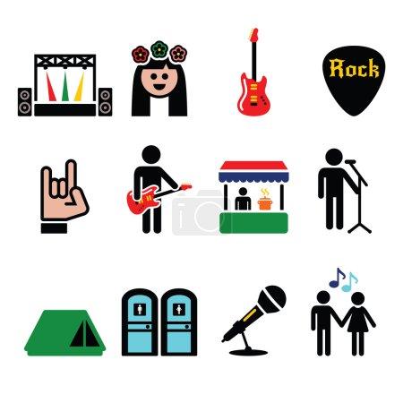 Illustration pour Rock'n'roll, icônes événement musical mis isolé sur blanc - image libre de droit