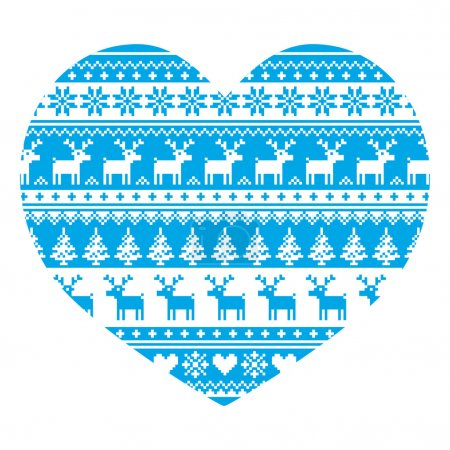 Christmas card with heart- blue Nordic, winter pattern on white