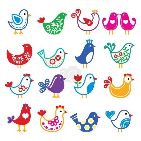 Folk art colorful birds vector icons set