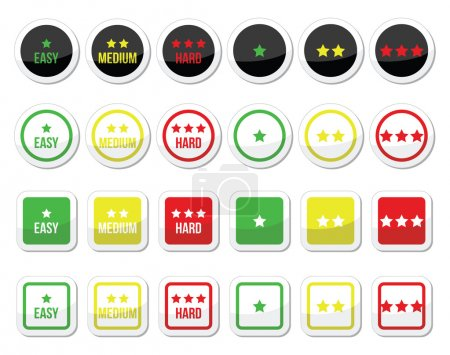 Easy, medium, hard level with stars icons set