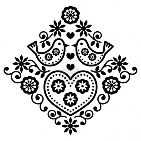 Illustration for Folk monochrome design with flowers isolated on white - Royalty Free Image