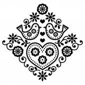 Folk art floral black vector pattern with birds
